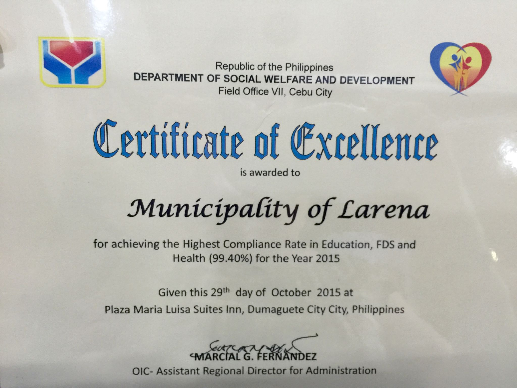 Certificate Of Excellence Municipality Of Larena